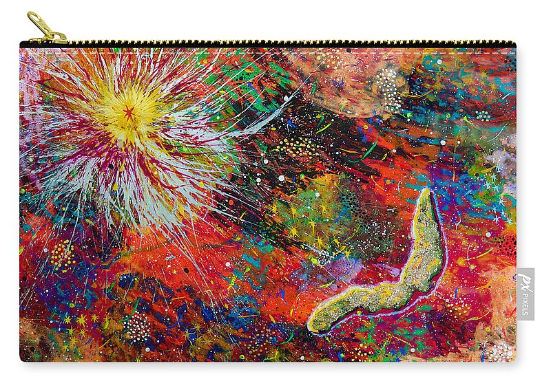Abstract Carry-all Pouch featuring the painting 16-9 Red Star Burst by Patrick OLeary
