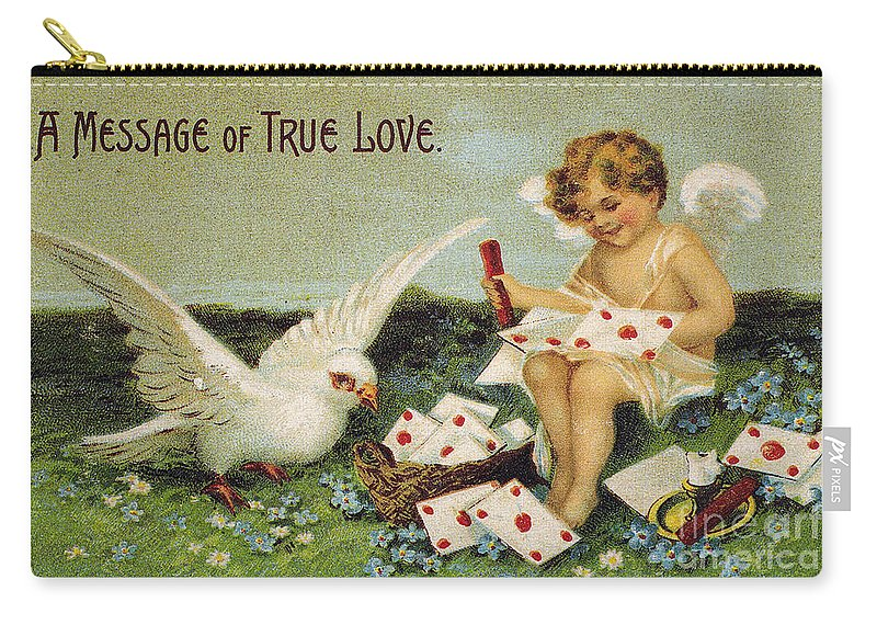 1910 Carry-all Pouch featuring the photograph Valentines Day Card by Granger