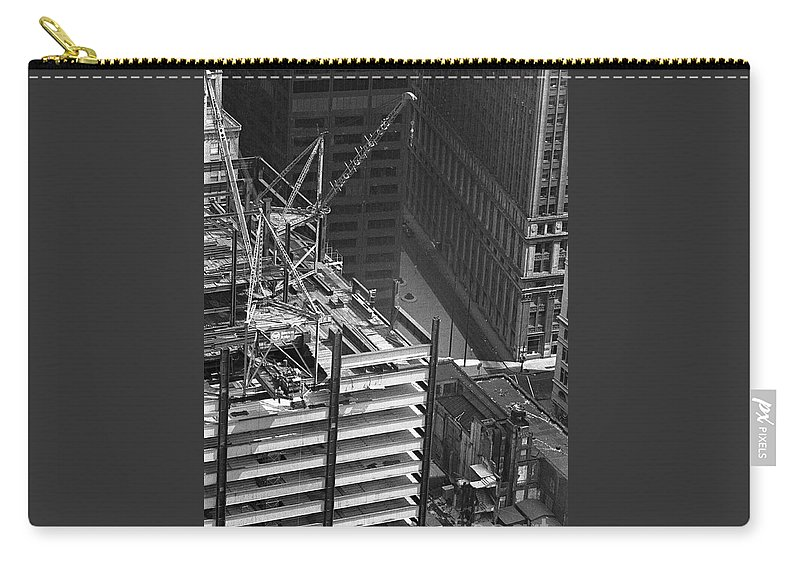 World Trade Center Construction Black And White View From Tower 1967 Carry-all Pouch featuring the photograph World Trade Center Under Construction 1967 by Bob Bennett