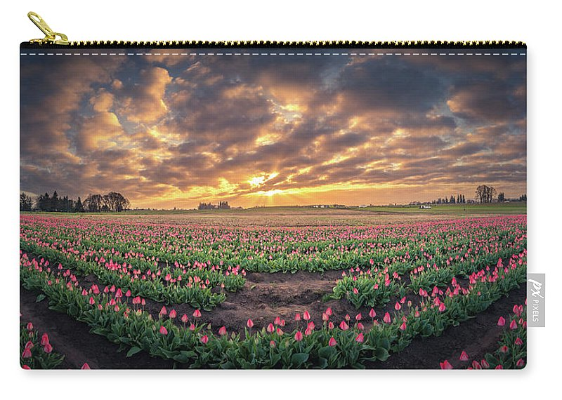 Travel Carry-all Pouch featuring the photograph 180 Degree View Of Sunrise Over Tulip Field by William Freebilly photography