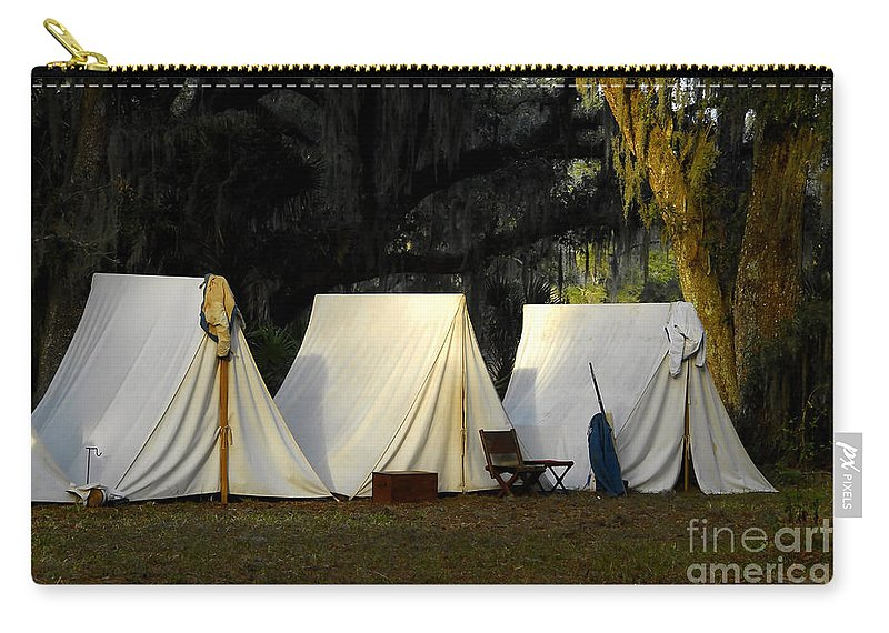 Army Tents Carry-all Pouch featuring the photograph 1800s Army Tents by David Lee Thompson