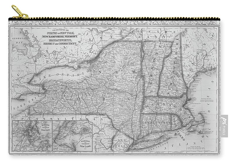 New York Map Black And White.1863 New England And New York Map Black And White Carry All Pouch