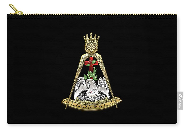 'ancient Brotherhoods' Collection By Serge Averbukh Carry-all Pouch featuring the digital art 18th Degree Mason - Knight Rose Croix Masonic Jewel by Serge Averbukh