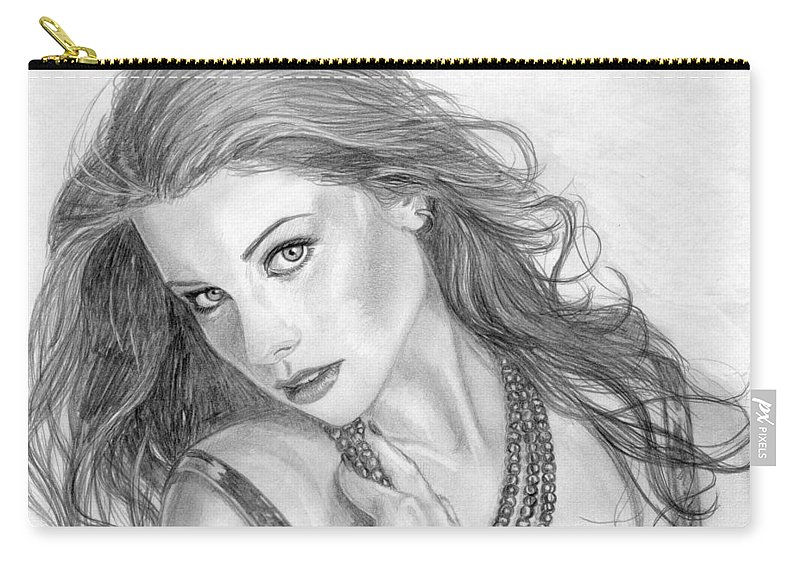 Michelle Trachtenberg Carry-all Pouch featuring the drawing 19 by Kristopher VonKaufman