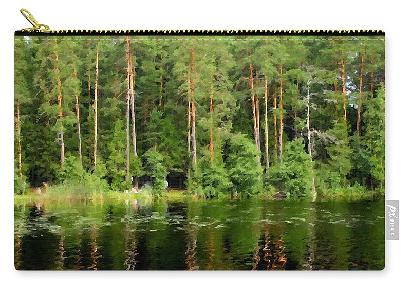 Art Carry-all Pouch featuring the digital art Landscape Painting Oil by Usa Map