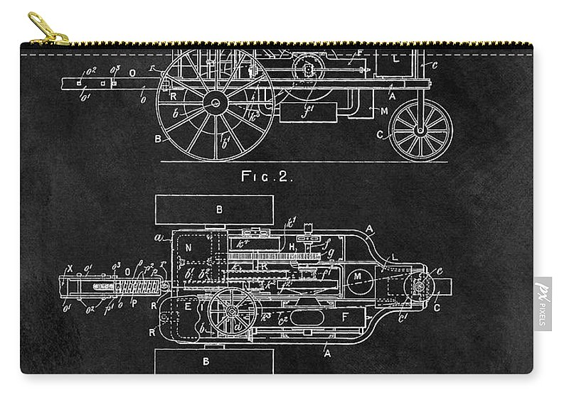 1903 Tractor Patent Carry-all Pouch featuring the drawing 1903 Tractor Blueprint Patent by Dan Sproul