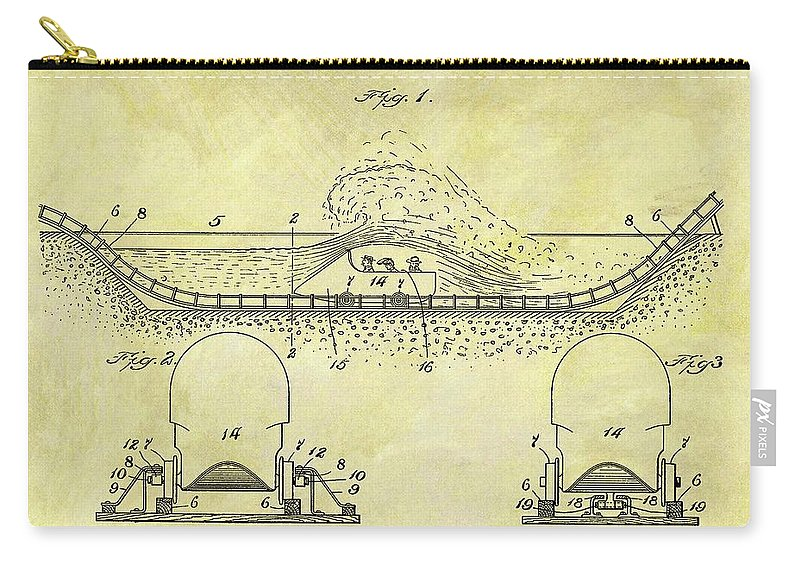 1904 Roller Coaster Patent Carry-all Pouch featuring the drawing 1904 Roller Coaster Patent by Dan Sproul