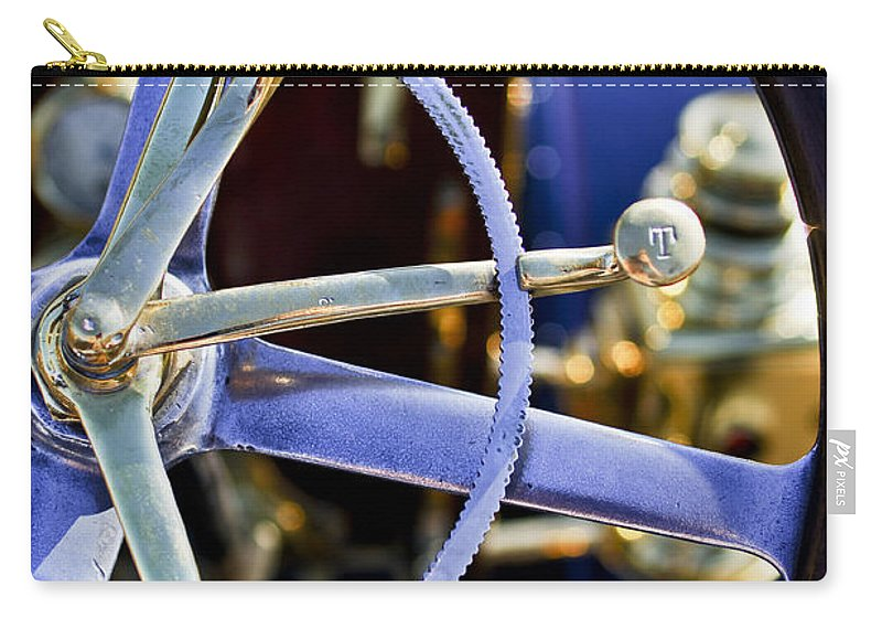 1910 Pope Hartford T Carry-all Pouch featuring the photograph 1910 Pope Hartford T Steering Wheel by Jill Reger