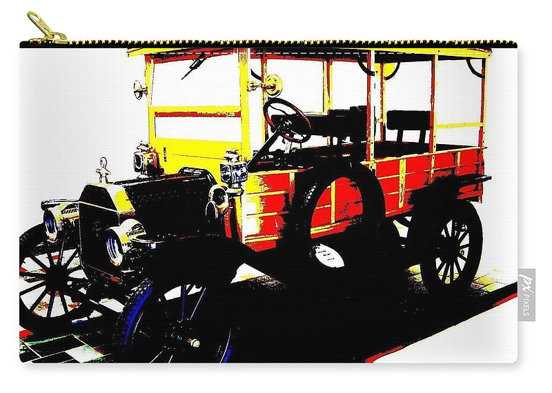 1912 Carry-all Pouch featuring the digital art 1912 Ford Model T Taxi by Will Borden
