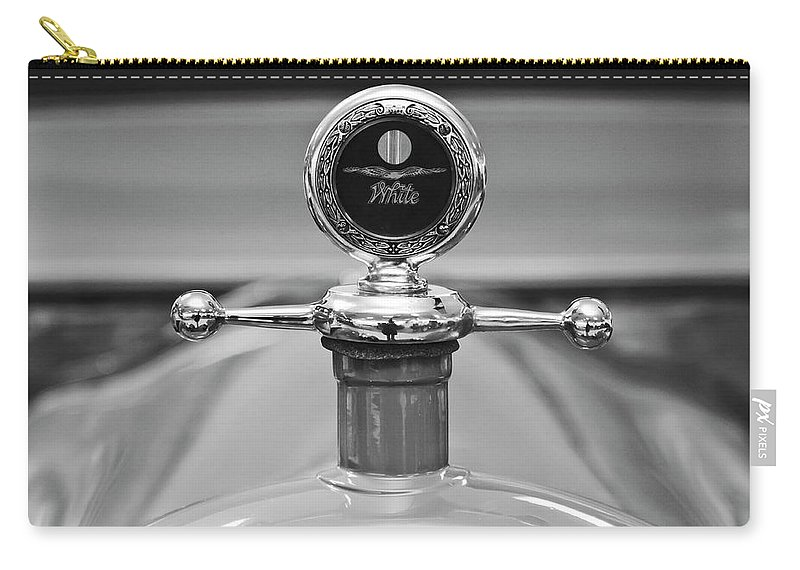 1913 White Gentleman's Roadster Carry-all Pouch featuring the photograph 1913 White Gentlemans's Roadster Hood Ornament 2 by Jill Reger