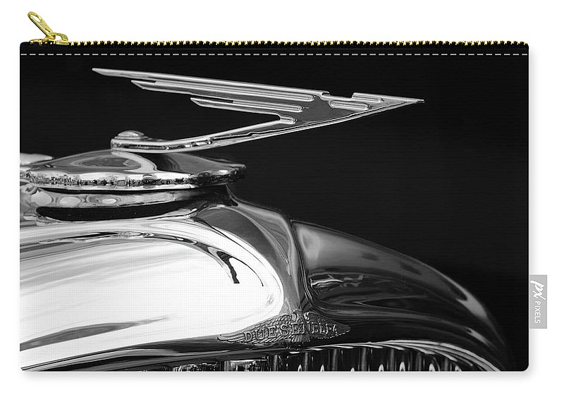 1929 Duesenberg Model J Carry-all Pouch featuring the photograph 1929 Duesenberg Model J Hood Ornament 2 by Jill Reger