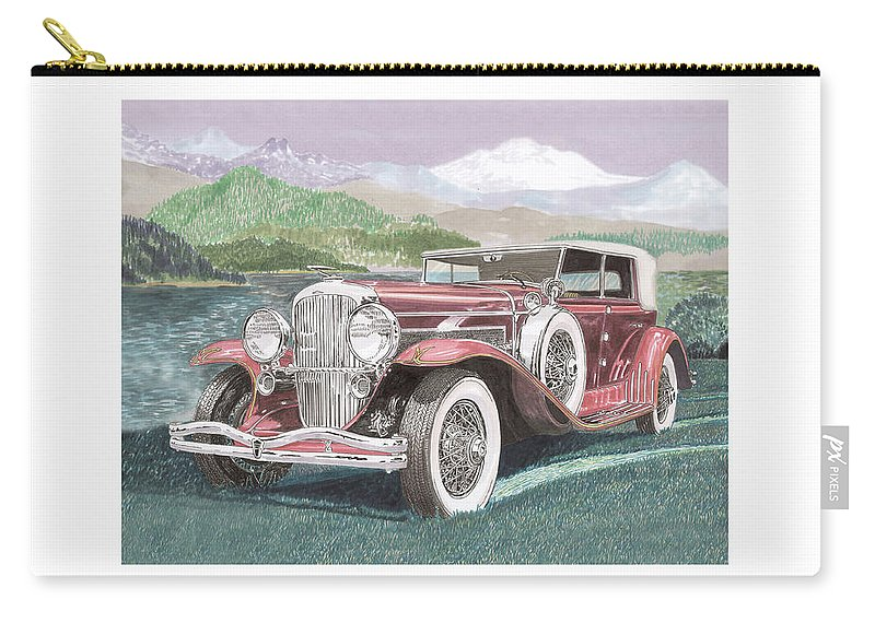 Images Of 1930 Duesenberg Model J Dual Cowl Phaeton. Framed Prints Of 1930 Duesenberg Model J Dual Cowl Phaeton. 1930 Duesenberg Model J Dual Cowl Phaeton Art. Luxury 1930 Duesenberg Model J Dual Cowl Phaeton Prints1929 Dusenberg Clasic Carry-all Pouch featuring the painting 1930 Model J Duesenberg by Jack Pumphrey