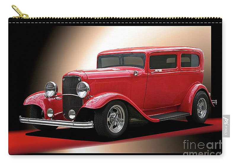 Hot Rod Key Words Carry-all Pouch featuring the photograph 1932 Ford 'cherry Bomb' Sedan by Dave Koontz