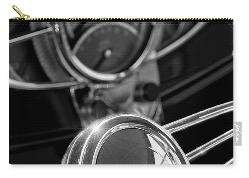 1932 Ford Carry-all Pouch featuring the photograph 1932 Ford Hot Rod Steering Wheel 4 by Jill Reger