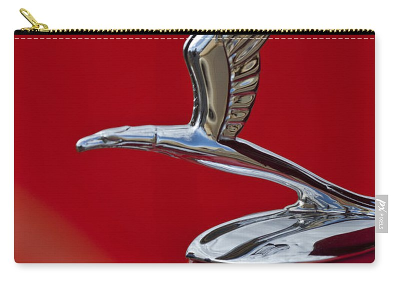 1933 Chevrolet Coupe Carry-all Pouch featuring the photograph 1933 Chevrolet Coupe Hood Ornament 2 by Jill Reger