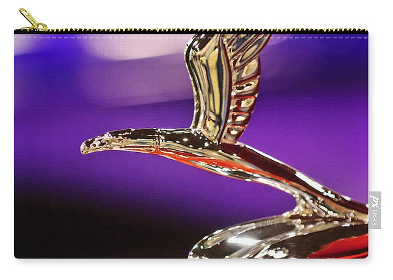 1933 Chevrolet Carry-all Pouch featuring the photograph 1933 Chevrolet Hood Ornament by Jill Reger