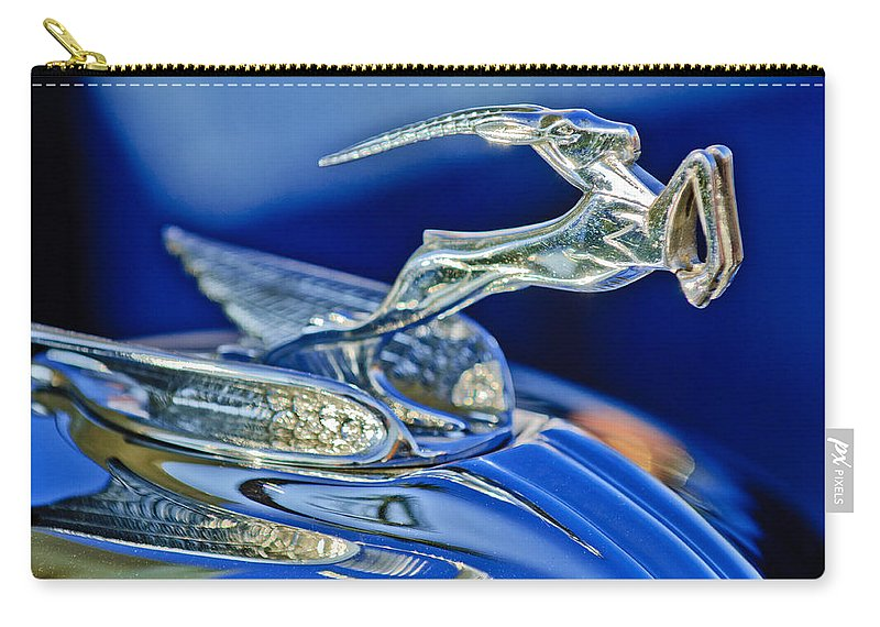 1933 Chrysler Imperial Carry-all Pouch featuring the photograph 1933 Chrysler Imperial Hood Ornament by Jill Reger