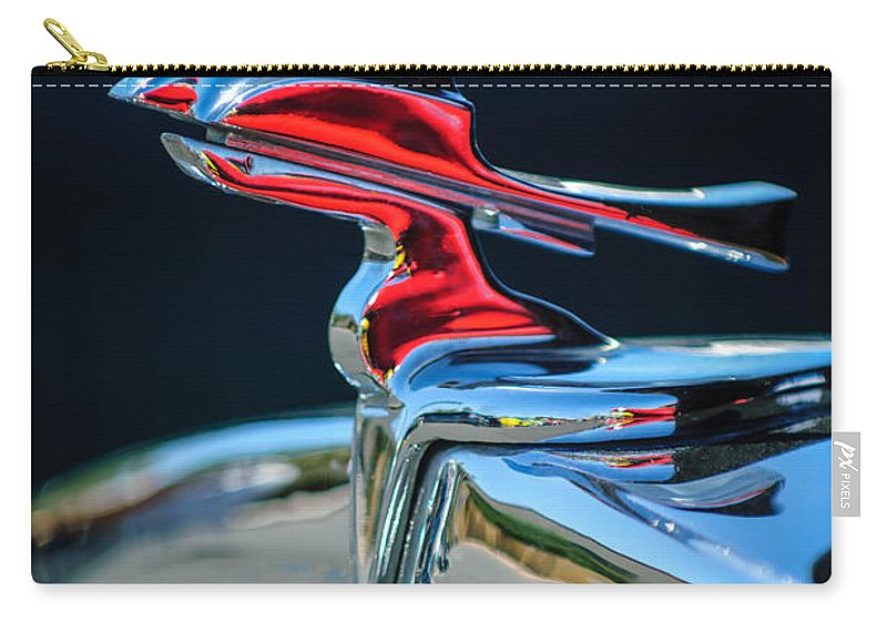 Car Carry-all Pouch featuring the photograph 1933 Franklin Olympic Hood Ornament by Jill Reger