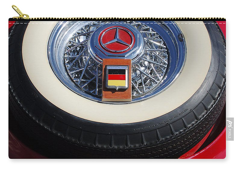 Car Carry-all Pouch featuring the photograph 1934 Mercedes Benz 500k Roadster 8 Spare Tire by Jill Reger