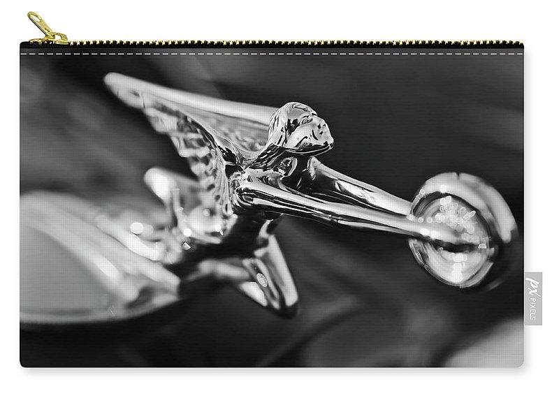 1934 Packard Carry-all Pouch featuring the photograph 1934 Packard Hood Ornament 2 by Jill Reger