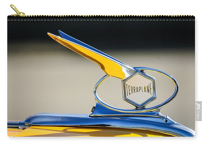 Car Carry-all Pouch featuring the photograph 1934 Terraplane Hood Ornament by Jill Reger