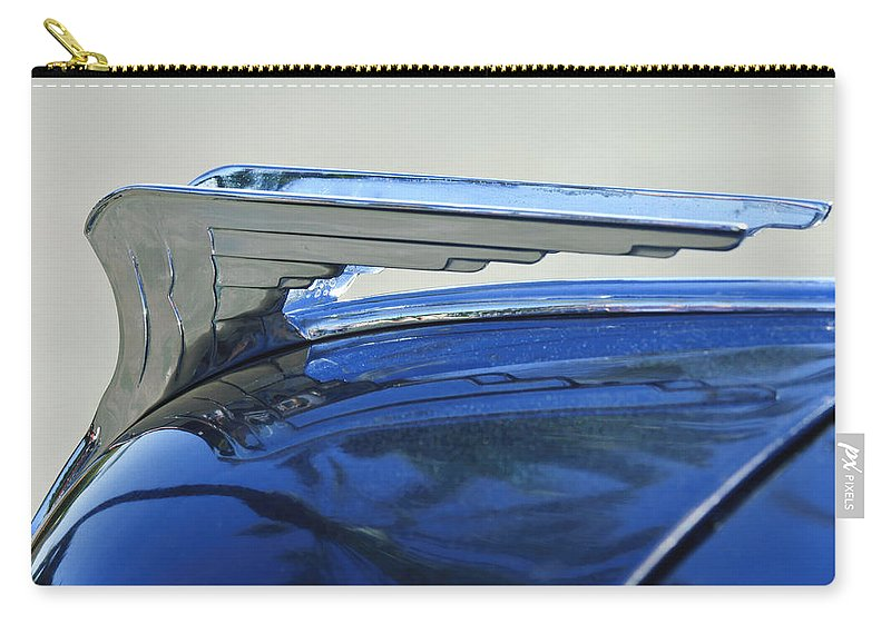 1935 Chrysler Carry-all Pouch featuring the photograph 1935 Chrysler Hood Ornament by Jill Reger