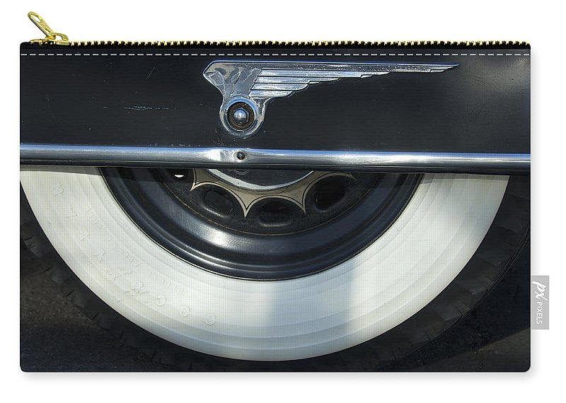 1935 Chrysler Carry-all Pouch featuring the photograph 1935 Chrysler Tire by Jill Reger