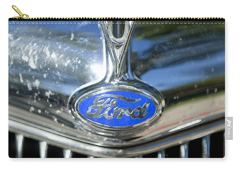 1935 Ford V8 Carry-all Pouch featuring the photograph 1935 Ford V8 Hood Ornament 2 by Jill Reger