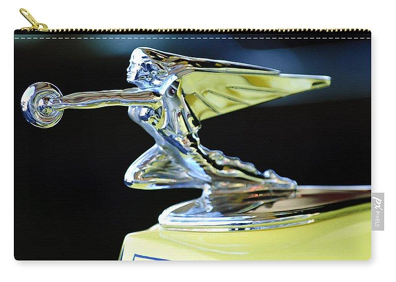 1935 Packard Carry-all Pouch featuring the photograph 1935 Packard Hood Ornament by Jill Reger