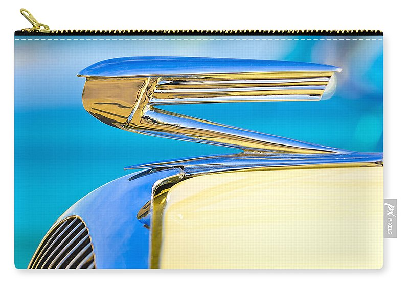 1936 Buick 40 Series Carry-all Pouch featuring the photograph 1936 Buick 40 Series Hood Ornament by Jill Reger