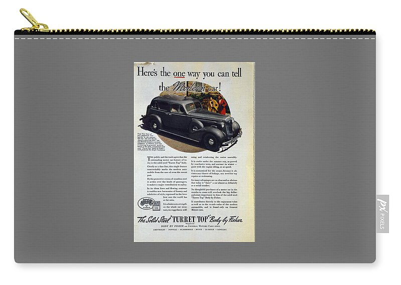 1936 Buick Century Carry-all Pouch featuring the photograph 1936 Buick Century Classic Ad by Allen Beilschmidt