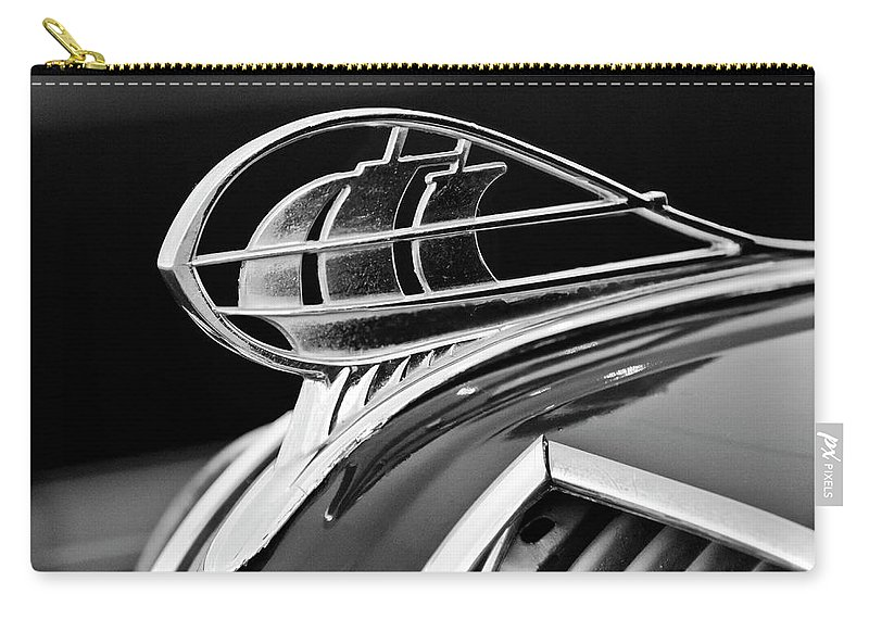 1936 Plymouth Sedan Carry-all Pouch featuring the photograph 1936 Plymouth Sedan Hood Ornament 2 by Jill Reger