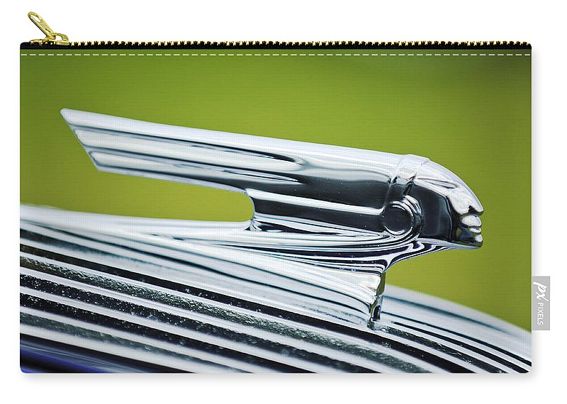 1936 Pontiac Carry-all Pouch featuring the photograph 1936 Pontiac Hood Ornament 3 by Jill Reger
