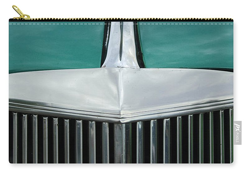 1937 Chevrolet Carry-all Pouch featuring the photograph 1937 Chevrolet Hood Ornament 4 by Jill Reger