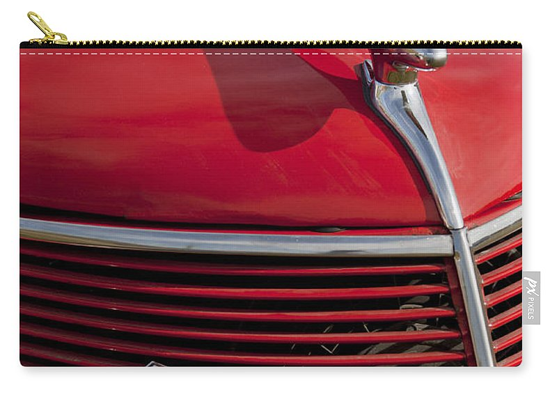 1937 Ford Carry-all Pouch featuring the photograph 1937 Ford Hood Ornament by Jill Reger