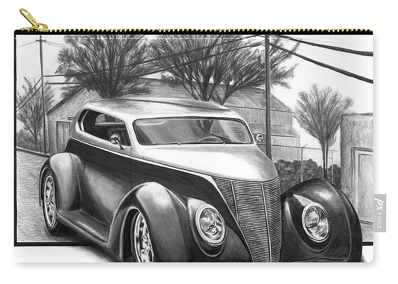 1937 For Sedan Carry-all Pouch featuring the drawing 1937 Ford Sedan by Peter Piatt