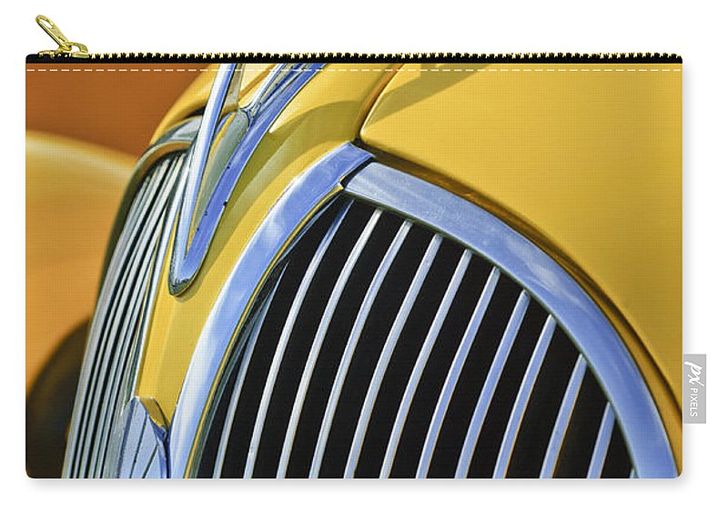 1937 Plymouth Carry-all Pouch featuring the photograph 1937 Plymouth Hood Ornament 2 by Jill Reger