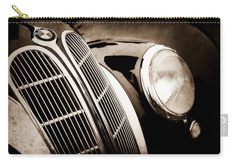 1938 Bmw 327-8 Cabriolet Grille Emblem Carry-all Pouch featuring the photograph 1938 Bmw 327-8 Cabriolet Grille Emblem -1526s by Jill Reger