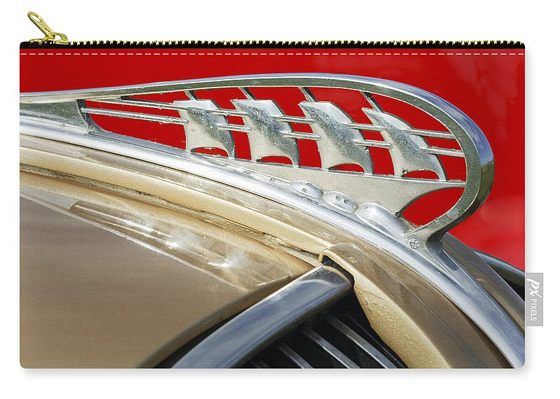Car Carry-all Pouch featuring the photograph 1938 Plymouth Hood Ornament by Jill Reger