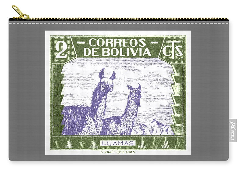 Bolivia Carry-all Pouch featuring the digital art 1939 Bolivia Llamas Postage Stamp by Retro Graphics