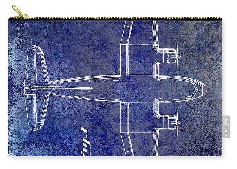 1955 Airplane Patent Carry-all Pouch featuring the photograph 1945 Transport Airplane Patent Blue by Jon Neidert