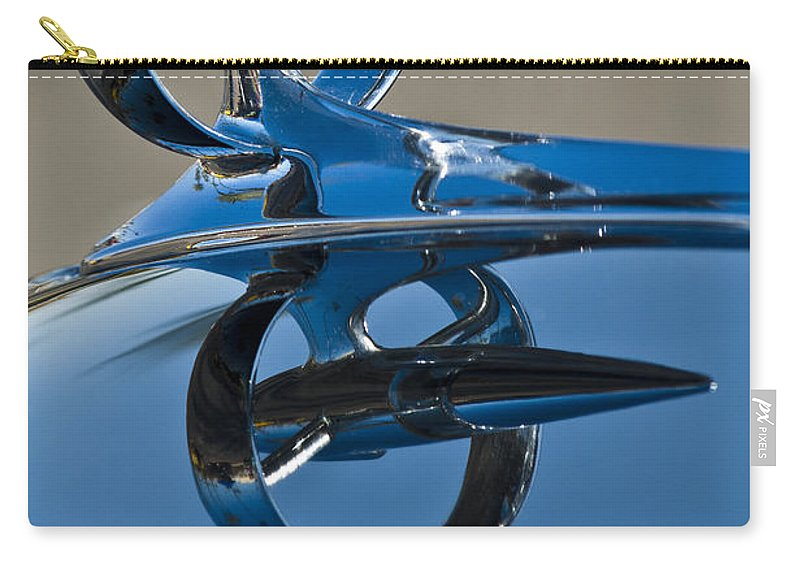 1947 Buick Roadmaster Carry-all Pouch featuring the photograph 1947 Buick Roadmaster Hood Ornament by Jill Reger