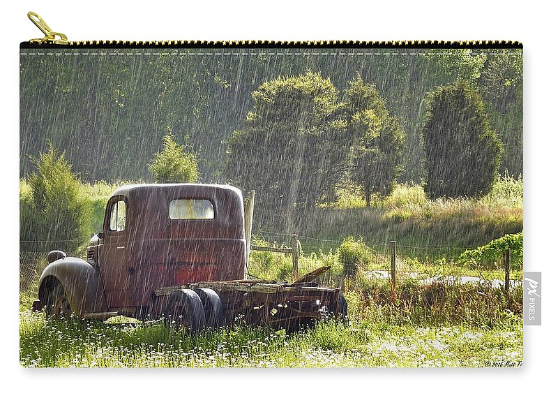 Nature Carry-all Pouch featuring the photograph 1947 Dodge Pickup Rain And Sun by Matt Taylor