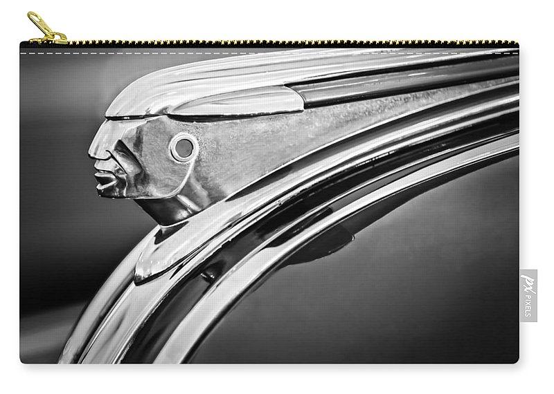 1948 Pontiac Chief Carry-all Pouch featuring the photograph 1948 Pontiac Chief Hood Ornament 2 by Jill Reger