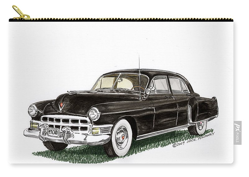 Framed Prints Of Cadillacs. Framed Canvas Prints Of Cadillac Fine Art. Famed Art Of Cadillac Hard Top Convertibles. Framed Art Of Great American Classic Cadillacs. Carry-all Pouch featuring the painting 1949 Cadillac Fleetwood Sedan by Jack Pumphrey