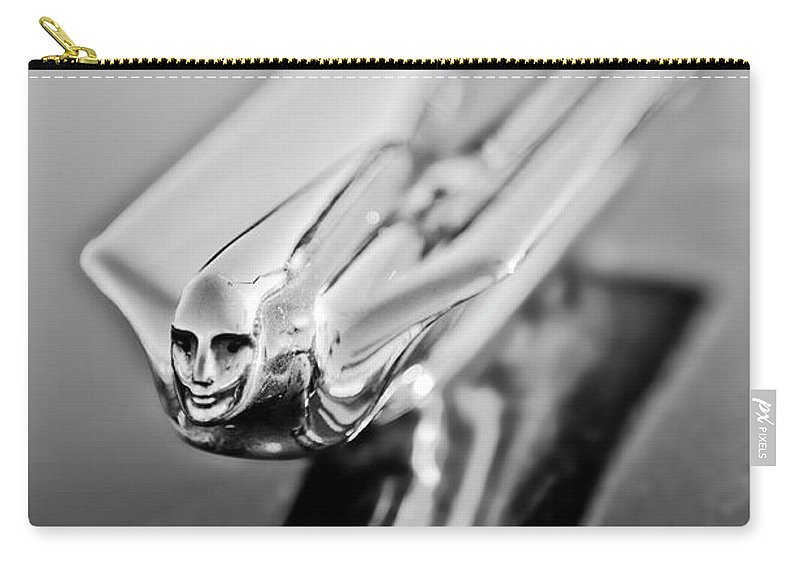 1949 Cadillac Carry-all Pouch featuring the photograph 1949 Cadillac Hood Ornament 4 by Jill Reger