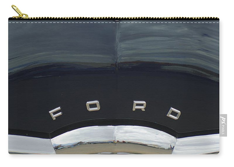 1949 Ford Carry-all Pouch featuring the photograph 1949 Ford Hood Ornament 4 by Jill Reger