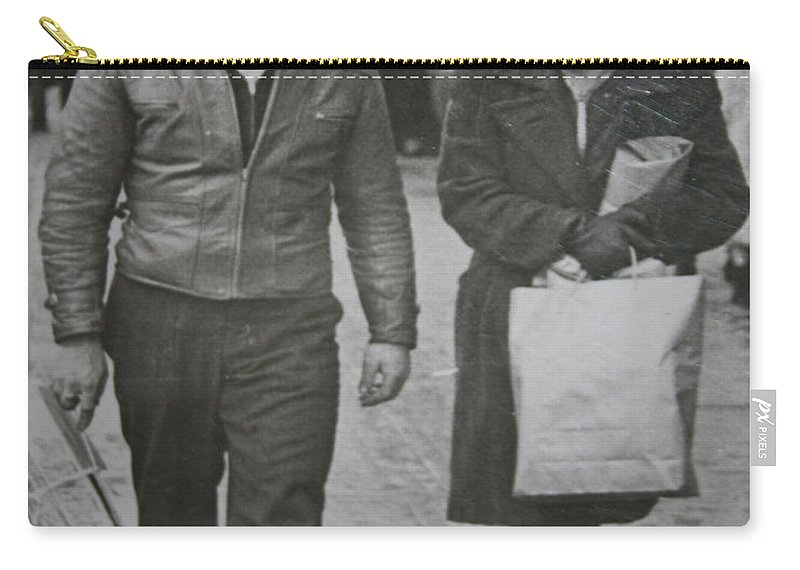 1950 Fashion Black And White Photograph Old Images Classic Carry-all Pouch featuring the photograph 1950s Fashion by Andrea Lawrence
