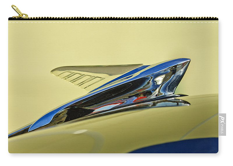 1951 Ford Carry-all Pouch featuring the photograph 1951 Ford Hood Ornament 2 by Jill Reger