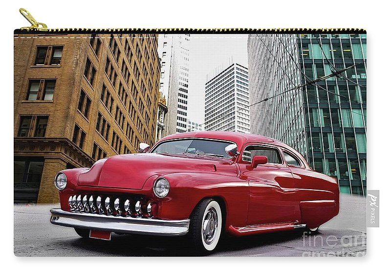 Auto Carry-all Pouch featuring the photograph 1951 Mercury 'candy Custom' Sled L by Dave Koontz